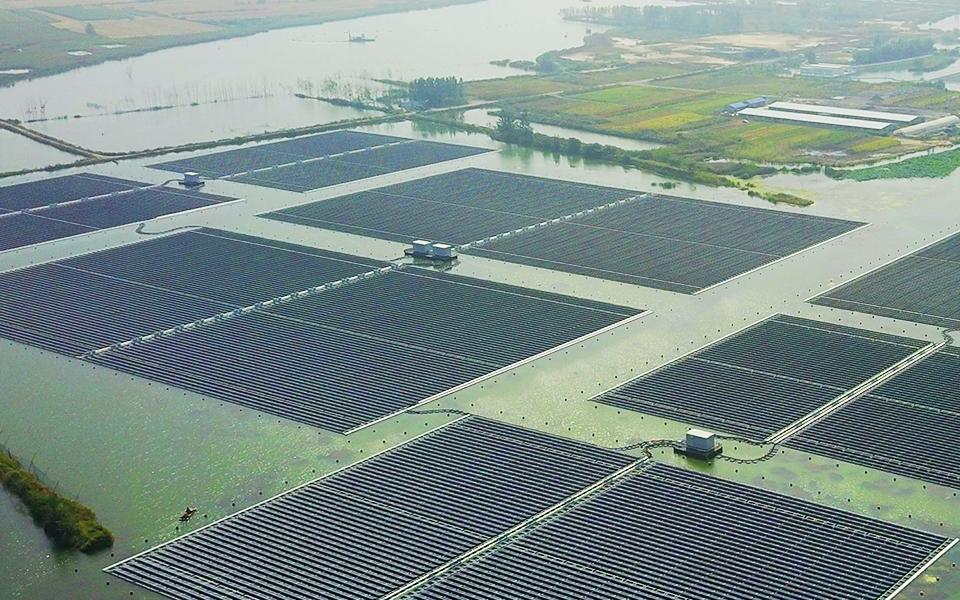 天合光能淮北市采煤沉陷区40MW水面漂浮式光伏电站项目